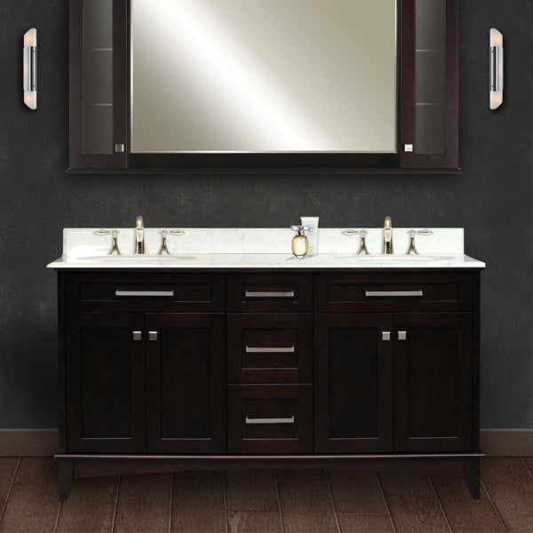 Water Creation Manhattan 60 Inch Dark Espresso Double Sink Bathroom Vanity