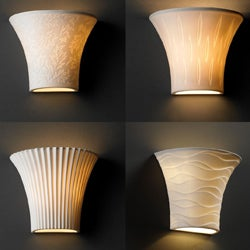 Justice Design Group 1-light Round Flared Translucent Porcelain Wall Sconce