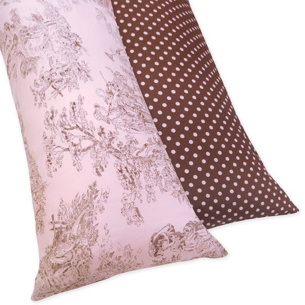 Sweet JoJo Designs Pink and Brown Toile and Polka Dot Full-length Double Zippered Reversable Body Pillow Case Cover