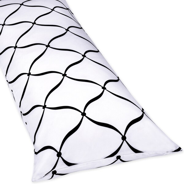 Sweet Jojo Designs Full-length Double Zippered Body Pillow Cover In Black and White Princess Design
