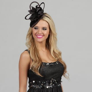 Swan Women's Black Satin Embellished Cocktail Fascinator