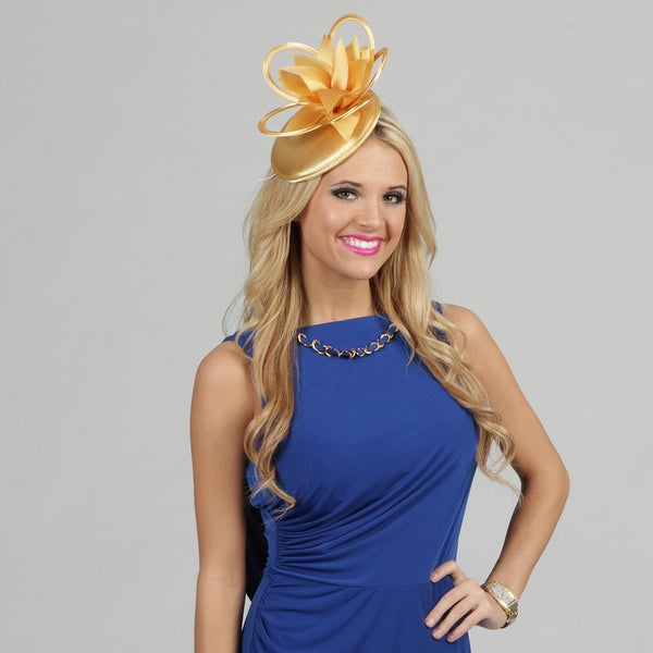 Swan Women's Gold Satin Loops and Leaves Cocktail Fascinator