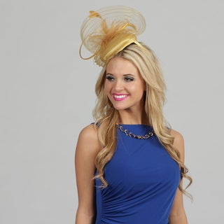 Swan Women's Gold Satin and Feather Embellished Cocktail Fascinator