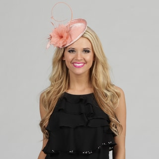 Swan Women's Pink Velvet and Feather Embellished Cocktail Fascinator