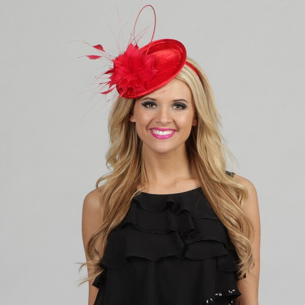 Swan Womens Red Velvet and Feather Embellished Cocktail Fascinator
