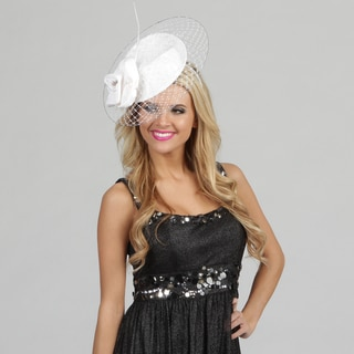 Swan Women's White Large Veiled Cocktail Fascinator