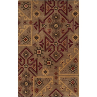 Hand-tufted Tan/Red Southwestern Aztec Gebze Wool Rug (8' x 11')