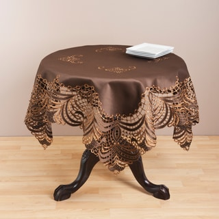 Polyester Embroidered Brown Cutwork Table Topper