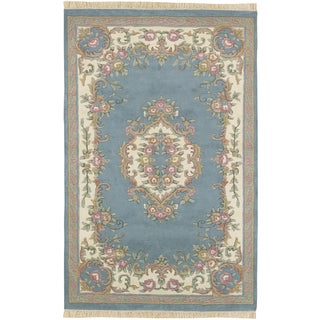 Hand-knotted Alfonsino Blue New Zealand Wool Rug (5'3 x 8'3)