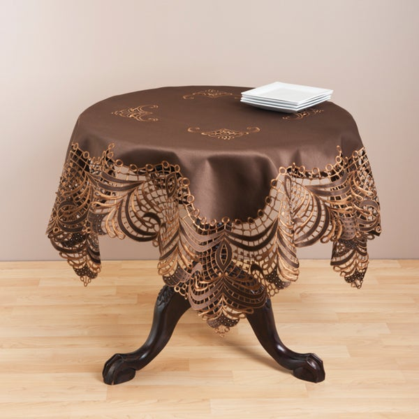 Embroidered Brown Cutwork Table Topper