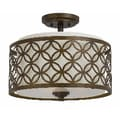 Orion 3 light Semi Flush in Aged Bronze