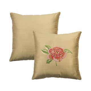 Rose Tree Crimson Garden Embroidered Flower Decorative Pillow