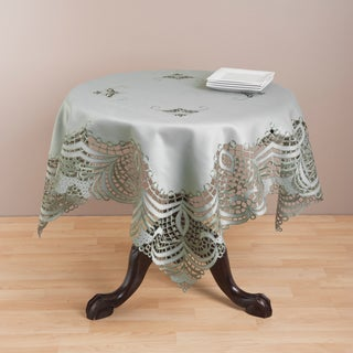 Saro Grey Embroidered Table Topper