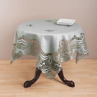 Embroidered Grey Cutwork Table Topper