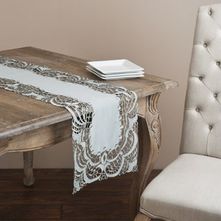 Saro Grey Embroidered Table Runner