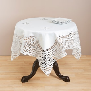 Saro Ivory Embroidered Table Topper