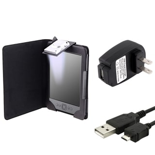 BasAcc Leather Case with Light/ USB Cable/ Charger for Amazon Kindle 4
