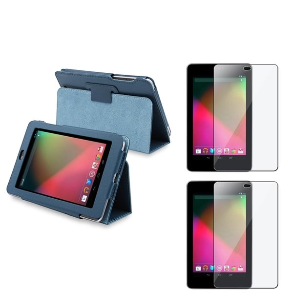 BasAcc Blue Leather Case/ LCD Protectors for Google Nexus 7