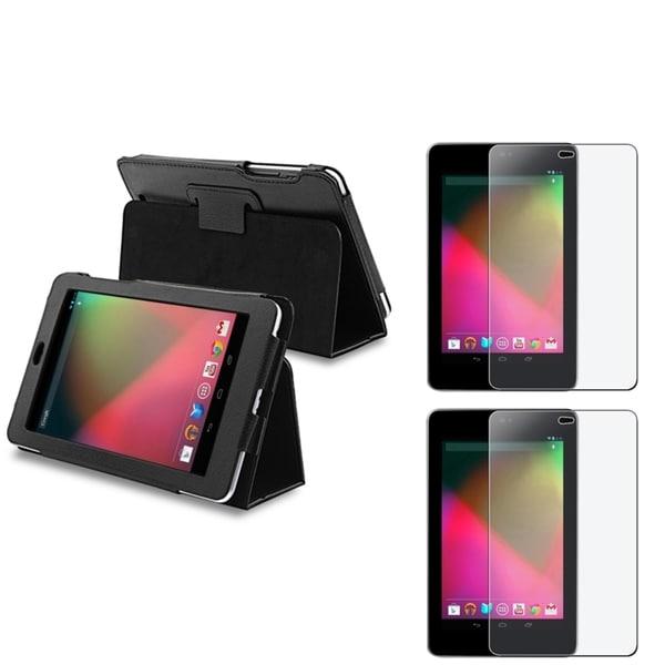 INSTEN Leather Phone Case Cover/ Anti-glare Screen Protector for Google Nexus 7
