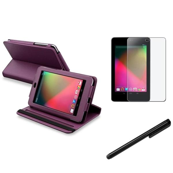 INSTEN Swivel Phone Case Cover/ Stylus/ Anti-glare Protector for Google Nexus 7