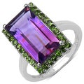 Malaika Sterling Silver 6 1/6ct TGW Amethyst and Chrome Diopside Ring