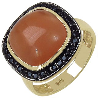 Malaika Gold over Silver 4 1/3ct TGW Peach Moonstone and Black Spinel Ring