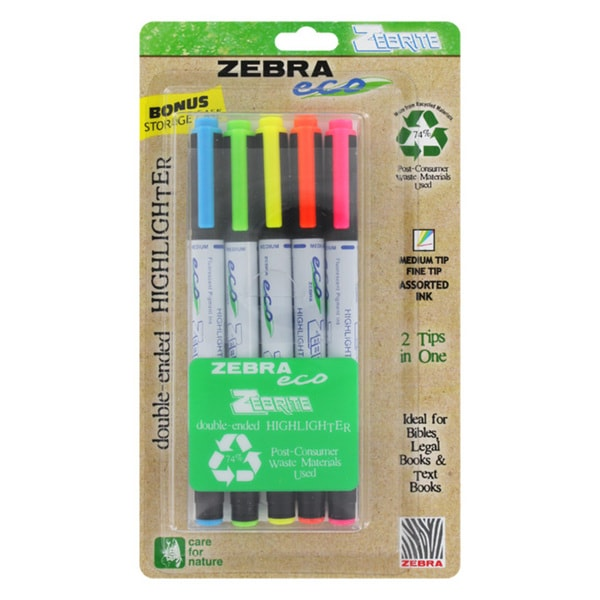 Zebra Eco Zebrite Double-ended Assorted Color Highlighters