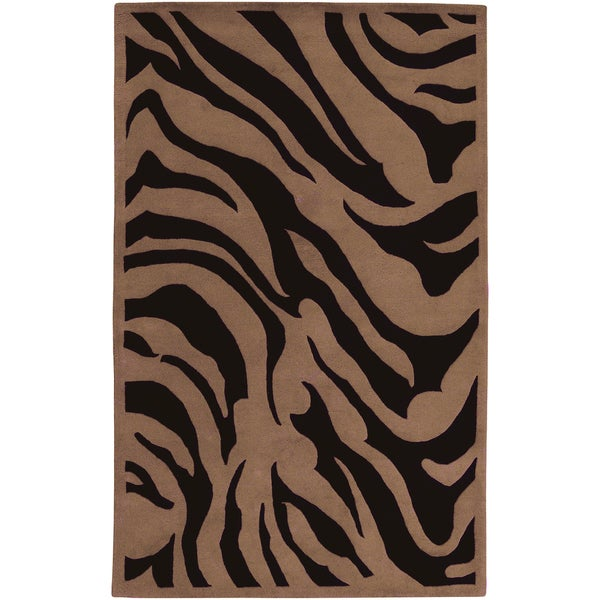 Hand-tufted Current Brown Animal Print Wool Rug (8' x 11')