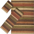 Meticulously Woven Temiskaming Dark Brown Stripe 3-piece Area Rug Set