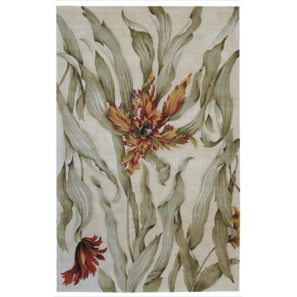 Hand-Tufted Tropical Ivory Rug