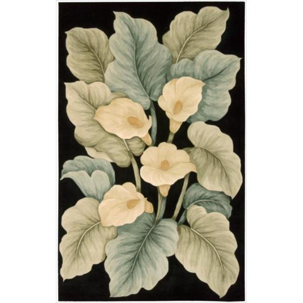 Hand-Tufted Tropical Black Rug