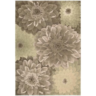 Hand-Tufted Tropical Taupe Green Rug