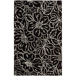 Skyland All-over Floral Black and White Rug
