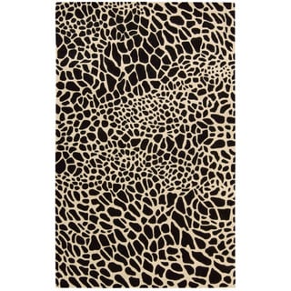 Skyland Black Animal Print Wool Rug