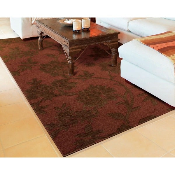 Skyland All-over Floral Print Rust Wool Rug