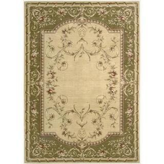 Ashton House Beige and Green Classical Motif Wool Rug