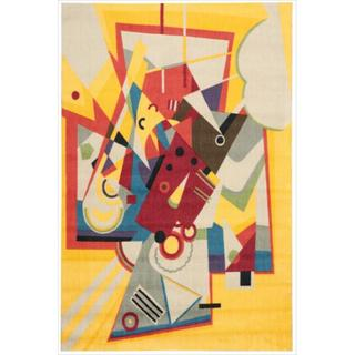 Modern Art Beige/ Multi Polyester Rug