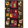Modern Art Brown/ Multi Polyester Rug