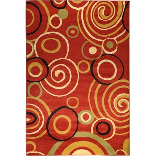 Antep Collection Red Contemporary Scrolls Rug (8' x 10')