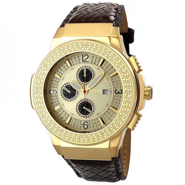 JBW Men's Stainless Steel 'Saxon Gold' Diamond Watch 10417687