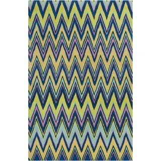 "Allie Handmade Geometric Blue Wool Area Rug (5' x 7'6"")"
