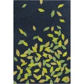 "Allie Handmade Floral Blue/Green Wool Rug (5' x 7'6"")"