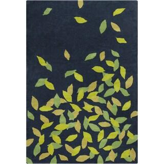 Allie Handmade Floral Blue/Green Wool Rug (5' x 7'6