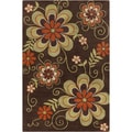 Allie Transitional Handmade Floral Brown Wool Rug (5' x 7'6)
