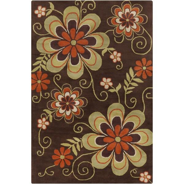 Allie Transitional Handmade Floral Brown Wool Rug (5' x 7'6)