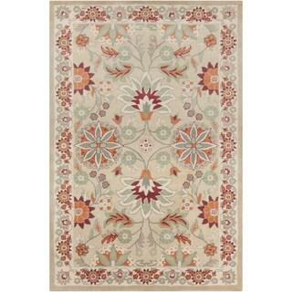 Beige Allie Handmade Floral Wool Rug (5' x 7'6