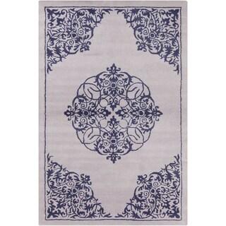 Allie Handmade Abstarct Grey Wool Rug (5' x 7'6)