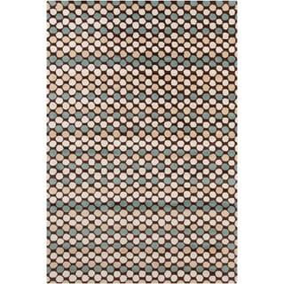 """Allie Handmade Geometric Brown Indoor Wool Rug (5' x 7'6"""")"""