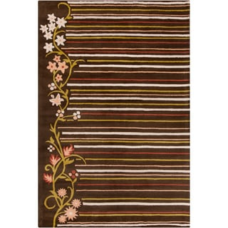Allie Handmade Striped Floral Brown Wool Rug (5' x 7'6)