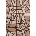 "Allie Handmade Geometric Brown Plush Wool Rug (5' x 7'6"")"